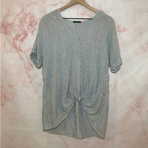 Sweet Claire Blue and White Striped Tunic Blouse